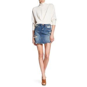 BLANKNYC Denim Frayed Hem Denim Skirt 26 IN#700i